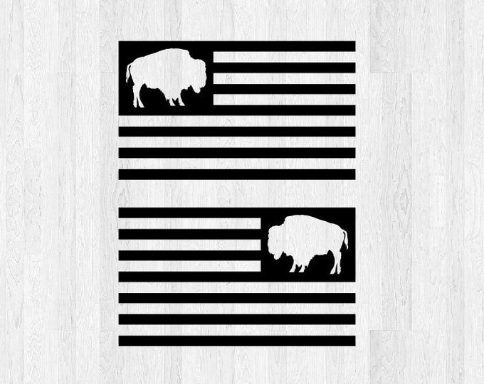 Buffalo American Flag Decal Pair  *Choose Size & Color* Buffalo American Flag Stickers Car Decal Truck Decal America USA Jeep Decal