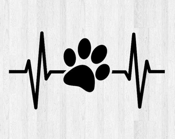 Paw Print Ekg Decal Paw Print Ekg Sticker - Paw Print Decal Paw Print Sticker - Animal Love Decal Dog Paw Print Heartbeat Decal