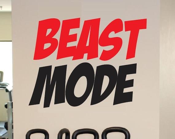 Beast Mode Decal - Beast Mode Sticker Motivation Fitness Gym Decor - Motivational Beast Mode Vinyl Wall Decal - Gym Decal Fitness Decal