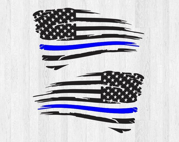 Set of 2 Thin Blue Line Distressed American Flag Decals *Choose Size & Color* Distressed American Flag Sticker Car Decal Truck Decal