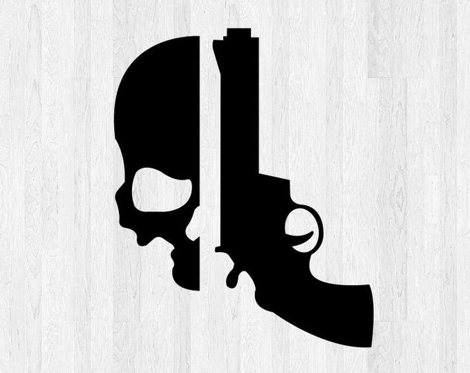 Skull Decal Skull Sticker - Revolver Decal Revolver Sticker - Gun Decal Gun Sticker - Gun Enthusiast Decor - Super hero decal car sticker