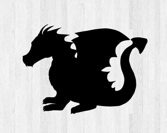 Baby Dragon Silhouette Decal - Baby Dragon Decal - Cute Baby Dragon Sticker - Car Decal Laptop Decal etc