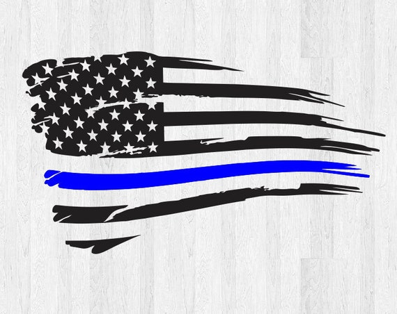 Thin Blue Line Distressed American Flag Decal - Tattered American Flag Sticker - Car Decal Truck Decal America USA Thin Blue Line Sticker