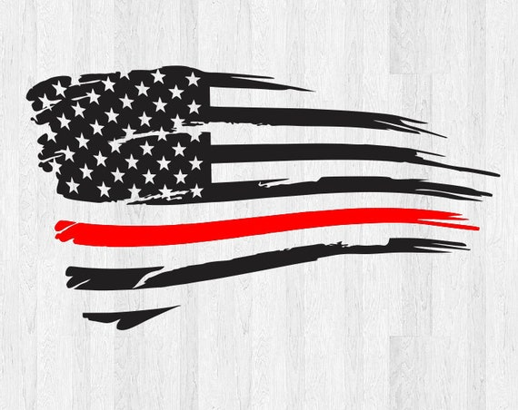 Thin Red Line Distressed American Flag Decal - Tattered American Flag Sticker - Car Decal Truck Decal America USA Thin Red Line Sticker