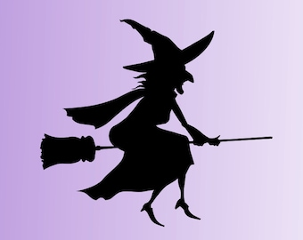 Halloween Spooky Witch Broomstick Vinyl Decal Stickers Window Decoration
