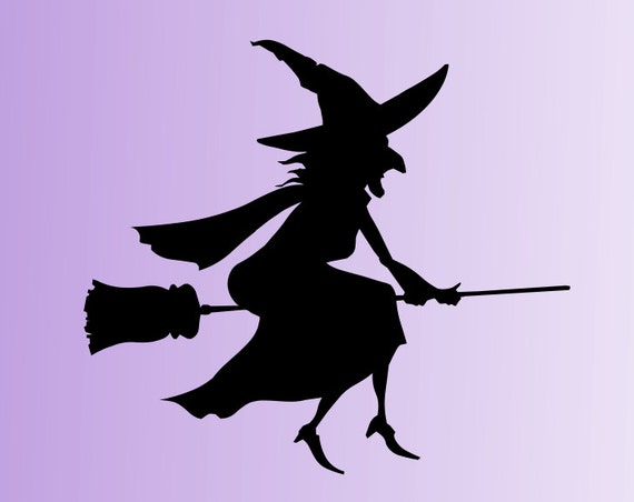 Set of 2 Witch Decals *Choose Size & Color* Witch Silhouette Decals - Halloween Decor Vinyl Decal Stickers - Flying Witch Broom