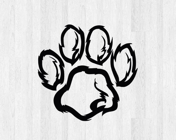 Furry Paw Print Decal - Furry Paw Print Sticker - Dog Pet Print Decal Pet Decals Animal Stickers - Dog Print Decals Dog Print Sticker