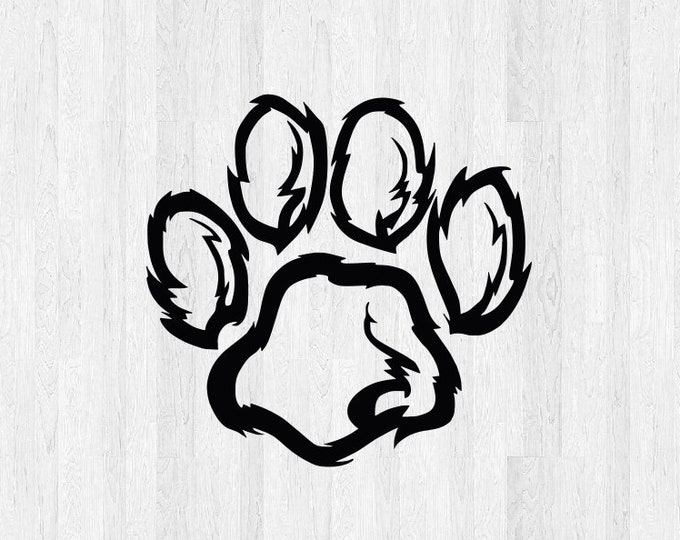 Furry Paw Print Decal - Furry Paw Print Sticker - Dog Pet Print Decal Pet Decals Animal Stickers - Dog Print Decals Dog Print Sticker