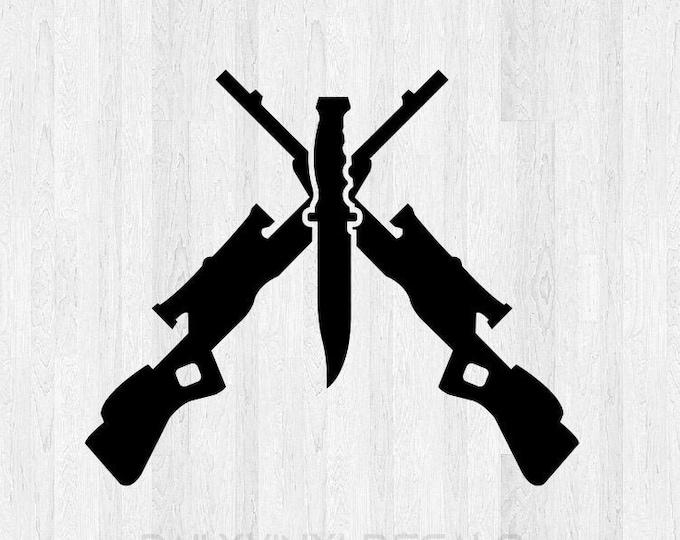 Cross Rifles Sticker - Hunting Truck Decal - Hunting Car Sticker -  Rifle Vinyl Sticker Gun Safe Decal Knife Decal Rifle Decal Rifle Sticker