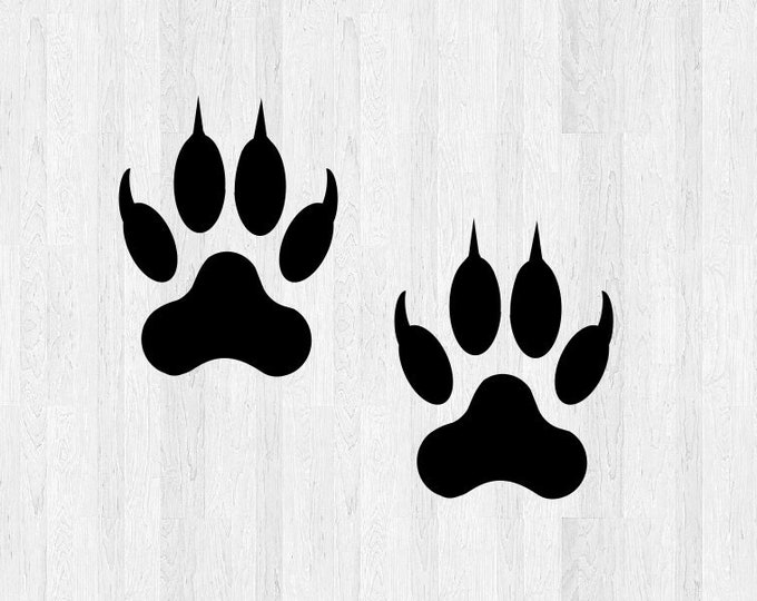 Set of 2 Wolf Paw Print Decals - Wolf Paw Print Stickers - Di Cut Vinyl Decals - Wolf Stickers Wolf Decals Wild Animal Tracks Wolf Tracks