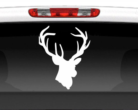 Deer Head Vinyl Decal *Choose Size & Color* Deer Head Silhouette - Antlers Rack Horns Buck Head - Hunting Gear - Truck Decals