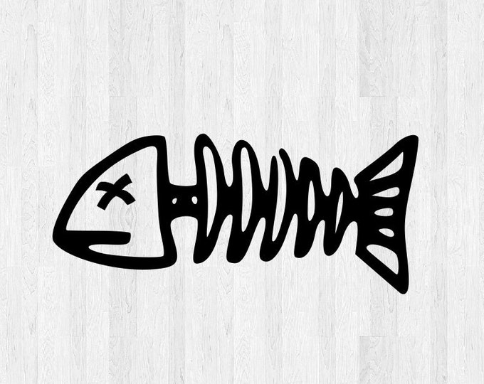 Fishbone Decal - Fishbone Sticker - Di Cut Vinyl Decal Fish Decal Fish Sticker Fishing Dead Fish Bones Car Truck Laptop Decal etc.