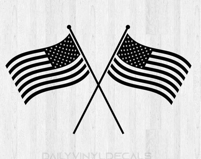 American Flag Decal - American Flag Sticker - Wavy Flags Sticker America United States Flag Pride
