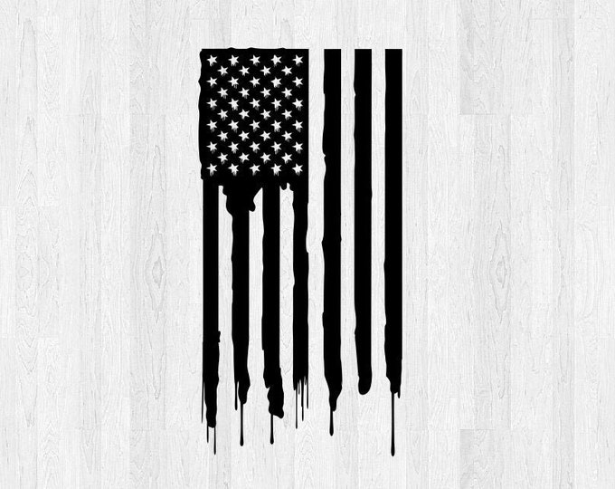 American Flag Vinyl Decal Distressed *Choose Size & Color* Distressed Drip American Flag Sticker - Car Decal Truck Decal America USA