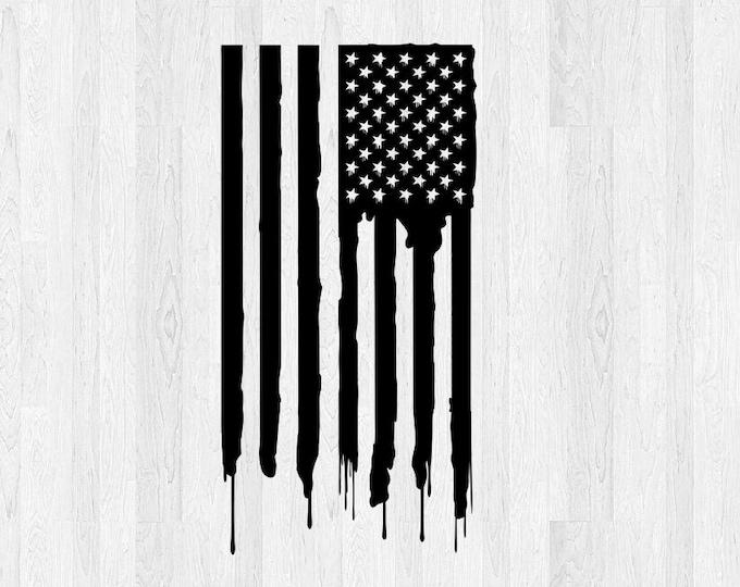 American Flag Vinyl Decal Vertical Distressed *Choose Size & Color* Distressed Drip American Flag Vertical Drip Sticker Car Decal etc