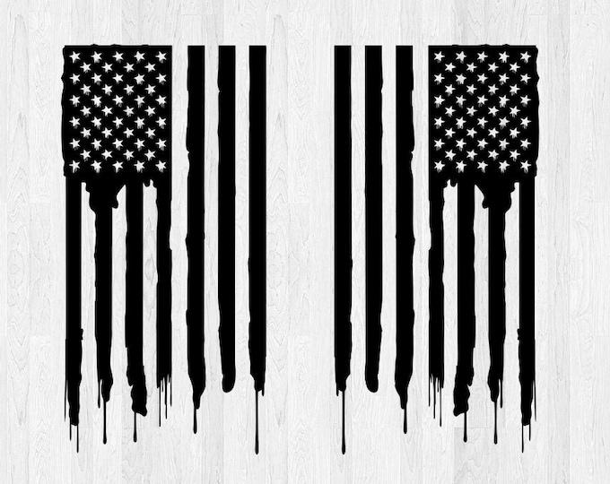 Distressed American Flag Decals Set of 2 *Choose Size & Color* Distressed American Flag Stickers Car Decal Truck Decal American Flag Decal