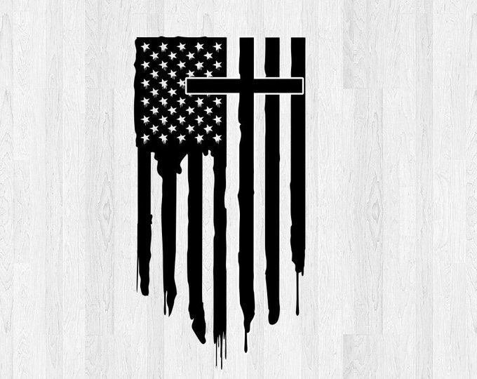 Cross and Flag Decal Vertical Distressed *Choose Size & Color* Cross and American Flag Sticker Cross Decal Cross Sticker Car Decal etc