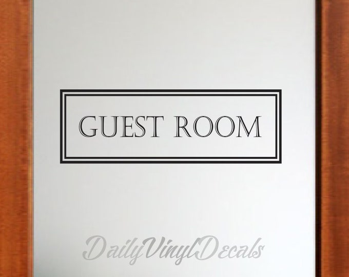 Guest Room Vinyl Decal *Choose Size & Color* Guest Room Decal - Vintage Style Guest Room Wall Decal - Vinyl Lettering Window Door Decal etc.