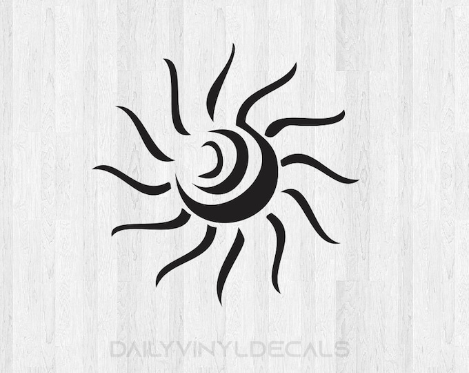 Abstract Sun Decal - Abstract Sun Sticker Di Cut Vinyl Decal - Summertime Summer Decal Car Truck Laptop Decal etc.