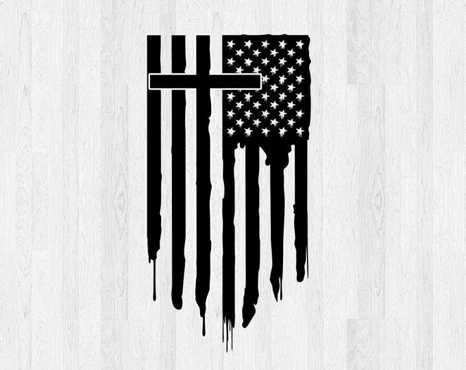 Cross and Flag Vinyl Decal Vertical Distressed *Choose Size & Color* Cross and American Flag Sticker Cross Decal Cross Sticker Car Decal etc