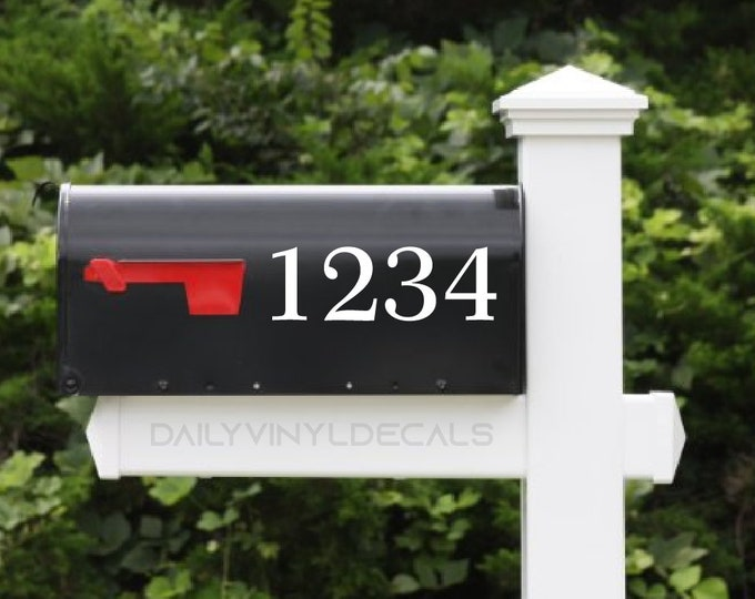 Mailbox Number Decal - Custom Mailbox Numbers  - Di Cut Vinyl Decals - Mailbox Adress Decal House Number Sticker Address Decal Street Number