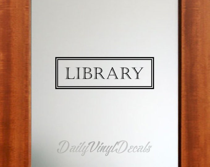 Library Vinyl Decal *Choose Size & Color* Library Door Decal - Vintage Style Library Wall Decal Vinyl Lettering Window Door Decal