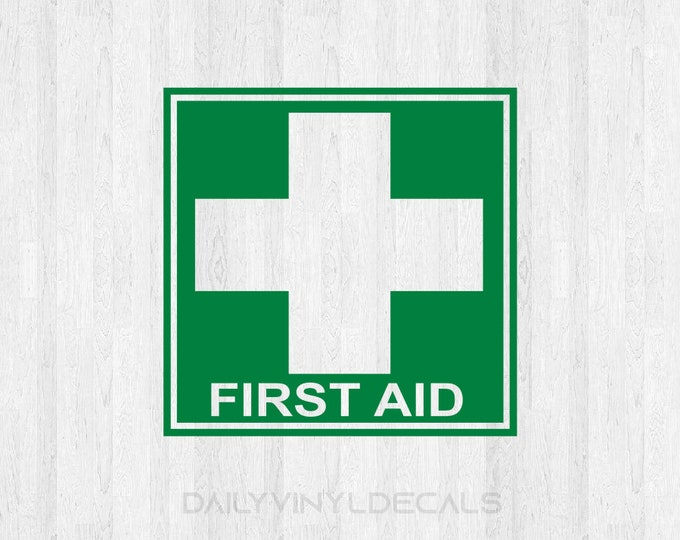 First Aid Decal - First Aid Medical Cross Sign Decal - First Aid Sticker Medical Cross Sticker - Hospital Doctor Nurse