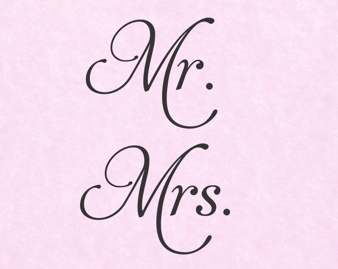 Set of 2 Decals Mr and Mrs Decals - Mrs and Mrs Stickers - Yeti Tumbler Wine Glass Cup Head Table Wedding Decor Personalization Etc.