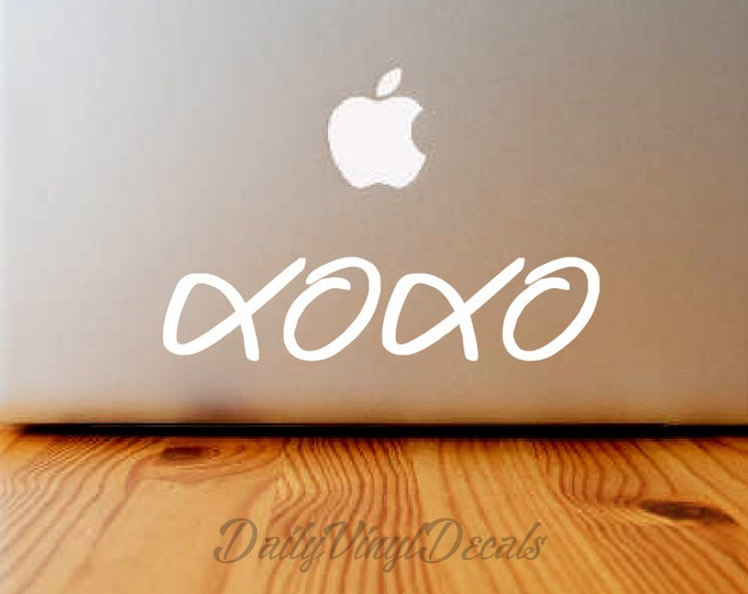 xoxo Hugs and Kisses Vinyl Decal - Macbook Decal - Laptop Sticker *Choose Size & Color* xoxo love Vinyl Skins Lettering Decals Stickers