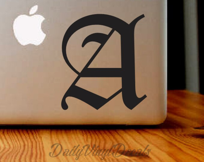 Old English Letter Decal | Old English Sticker Lettering | Personalized Lettering Car Truck Laptop Decal Letter Monogram Name Initial Letter