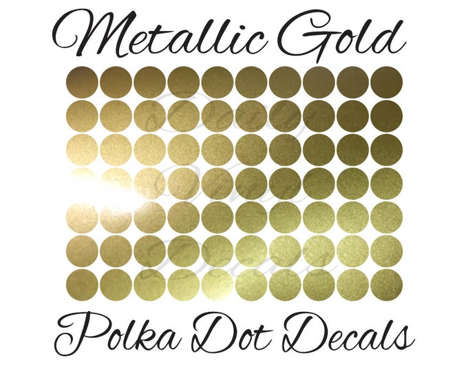 25 PACK Metallic Gold Polka Dot Decals *Choose Size & Color* Metallic Gold Circle Stickers - Home Decor Decals - Wall Decor Decals etc.