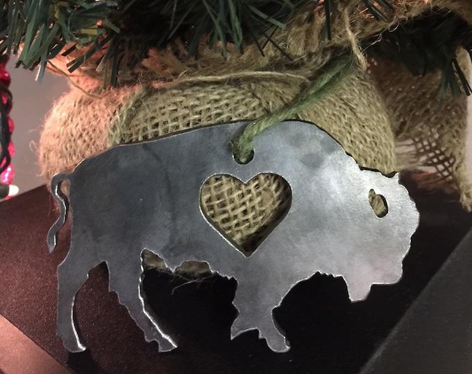 Buffalo Love Metal Art - Buffalo Ornament Decoration - Custom Metal Wears - Steel Metal Art - Made in Buffalo NY - Hearts Buffalove Decor