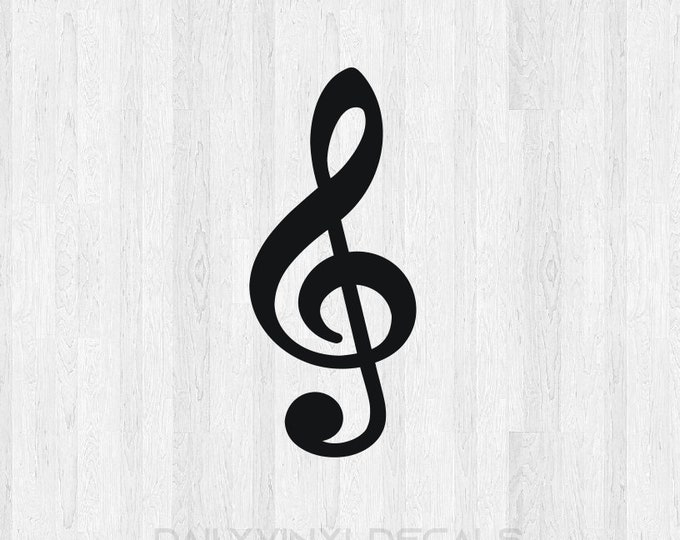 Treble Clef Decal Music Decal - Treble Clef Sticker Music Sticker - Musician Band Music Note Decal Di Cut Decal Car Truck Laptop Decal etc.