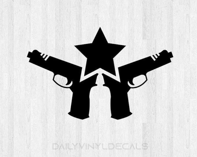 Pistol Sticker - Hunting Truck Decal - Hunting Car Sticker - Pistol Vinyl Sticker Gun Safe Decal Knife Decal Star Decal Gun Enthusiast Decor