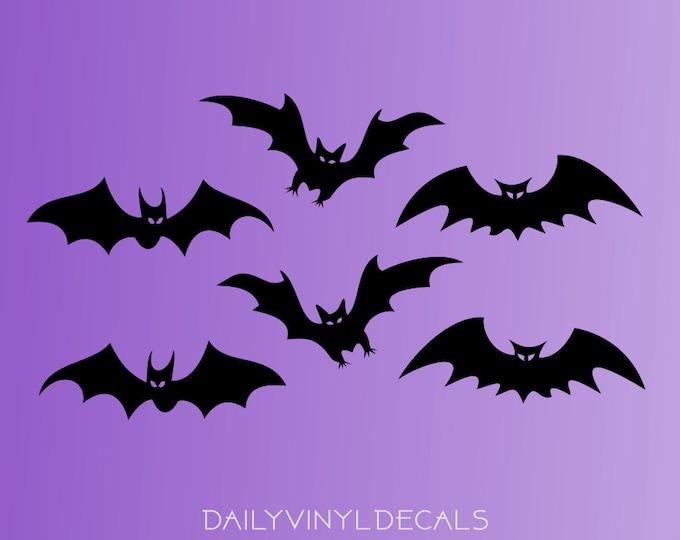 Bat Vinyl Decals Pack - Set of 6 Bat Decals - Bat Stickers - Bat Silhouette Vinyl Stickers - Halloween Batman Bats Decor