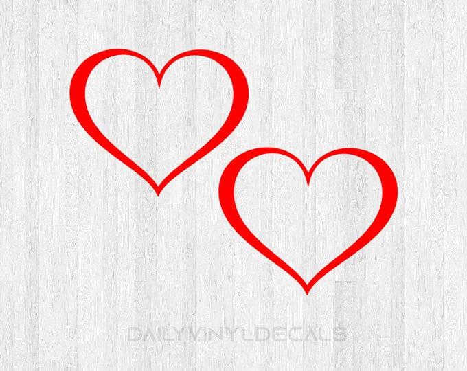 Set of 2 Heart Decals - Heart Stickers - Valentines Day Love Decal Love Sticker Heart Sticker Heart Decal