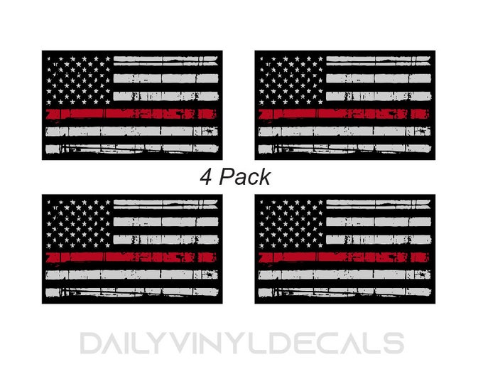 4 Pack Thin Red Line Flag Stickers - Distressed American Flag Decal - Thin Red Line Sticker - Firefighter support decals - American Flag