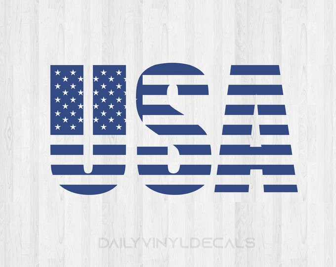 USA American Flag Lettering Decal - Usa Decal Usa Sticker United States Stars and Stripes Car Decal Truck Decal America USA Flag Decal