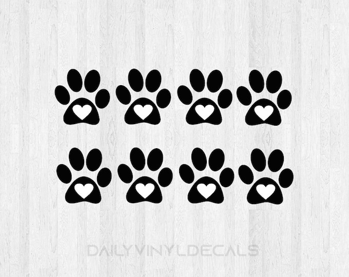 8 Pack Paw Print Heart Decals Paw Print Decals - Dog Prints Cats Print Pets Animals - Paw Print Heart Sticker Animal Lover