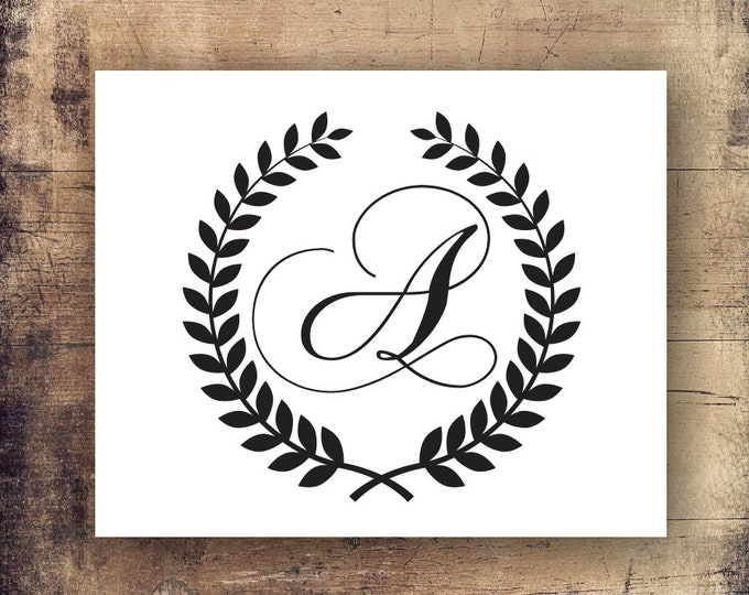 Laurel Wreath Initial Decal - Monogram Letters Custom Monogram Wall Decal - Home Decor Vinyl Wall Decals - Personalized Initials