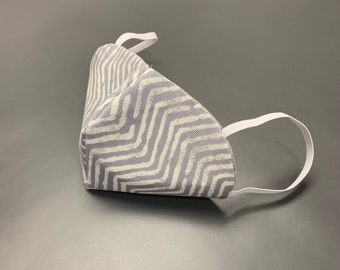 Cloth Face Mask Gray Chevron Design   Washable & Reusable   High Quality Masks Handmade Professionally Tailored   Made in USA PPE Mask