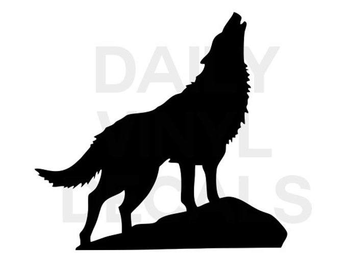 Howling Wolf Vinyl Decal *Choose Size & Color* Wolf Vinyl Sticker - Wild Animal Decals - Wolf Silhouette - Wolverine Timber Wolves etc