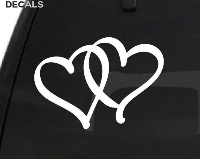 Linked Hearts Decal - Interlocked Hearts Stickers *Choose Size & Color* Love Decal Love Sticker Double Hearts