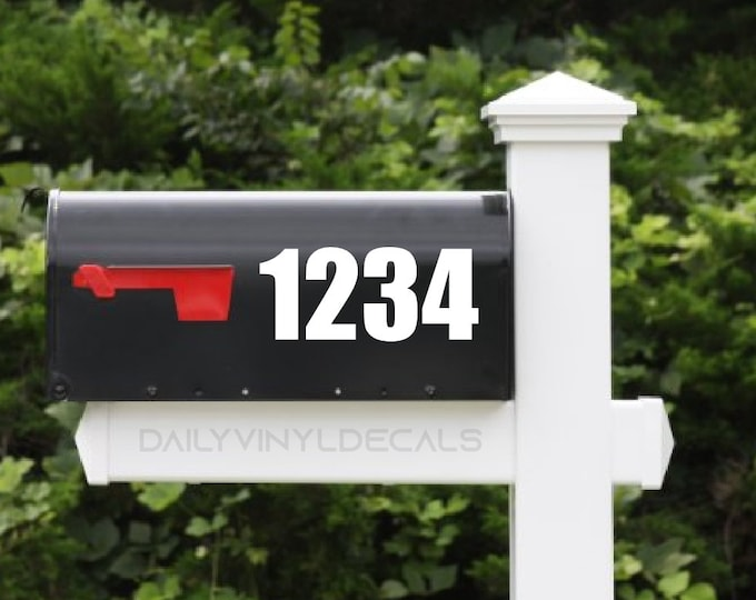 Set of 2 Mailbox Numbers Decals - Custom Mailbox Stickers - Bold Professional Numbers Di Cut Vinyl Decals - Shop Address Decal Shop Numbers