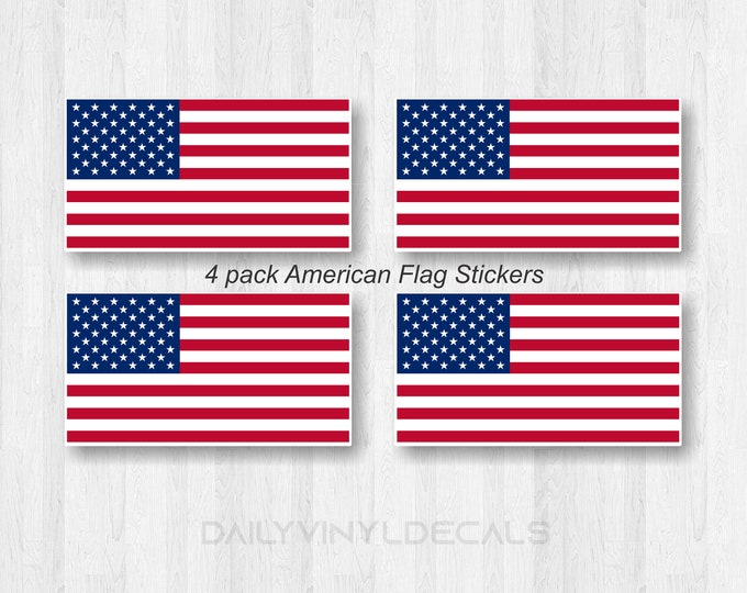 4 Pack American Flag Stickers | American Flag Car Sticker | Matte Finish very durable with lamination | Red White and Blue American Flag
