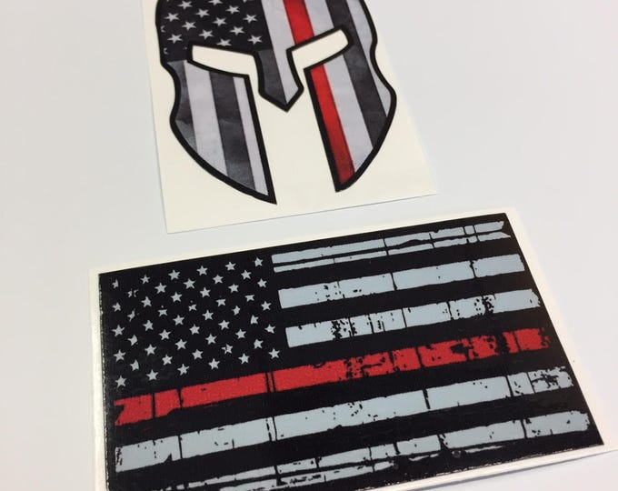 Thin Red Line Support Pack - 2 Pack Stickers - Spartan Helmet Sticker and American Flag Thin Red Line Sticker - Show your support!