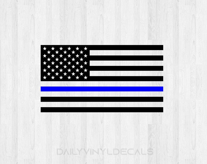 Thin Blue Line Decal | American Flag Blue Line Decal Back the blue decal Blue Line Flag Decal - Car Truck Decal America USA