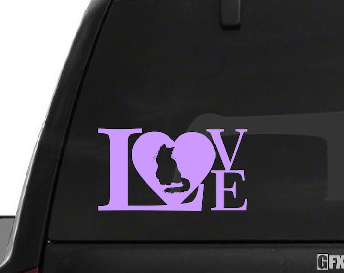 Cat Love Decal - Cat Love Sticker - Cat Decal Cat Sticker - Love Cats Family Pets Feline Animal Silhouette Decal