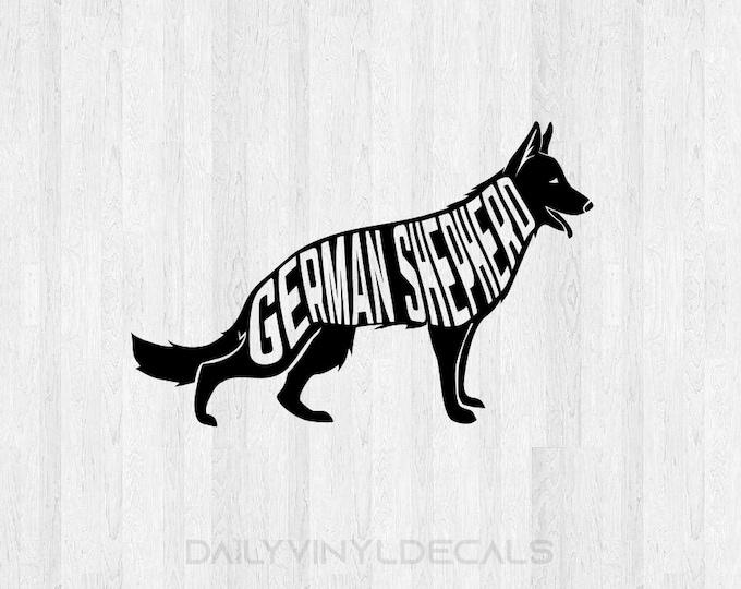 German Shepherd Decal *Choose Size & Color* German Shepherd Sticker Dog Decals Dog Sticker - K9 Animals Pet Decals Pet Stickers