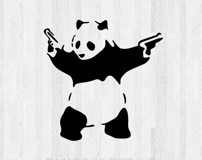 Banksy Panda Decal - Banksy Panda Sticker - Panda Bear with guns Bear Decal Bear Sticker Graphitti Art Di Cut Decal Car Truck Laptop Decal